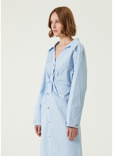 Nanushka Nanushka  Düğümlü Midi Gömlek Elbise 101610804 Mavi